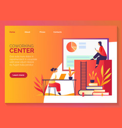 Coworking center freelancer work office space vector