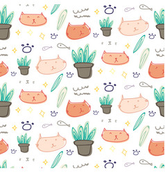 cute cat doodle pattern background vector image