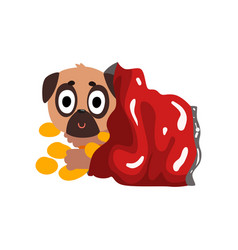 Cute pug dog sitting in a package with chips vector