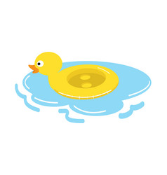 Duck float swimming pool ring vector
