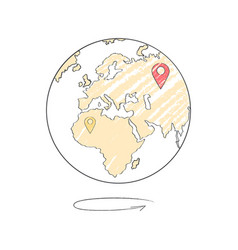 Earth icon with marks of trip destinations vector