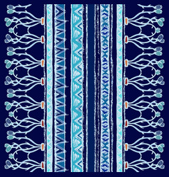 Ethnic vertical pattern with lines and zigzags vector