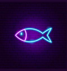 Fish neon sign vector