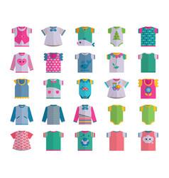 Flat bainfant clothes textile icon set vector