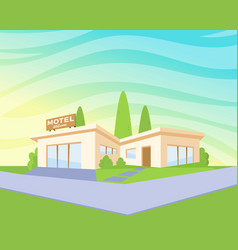 flat style modern architecture motel with green vector image