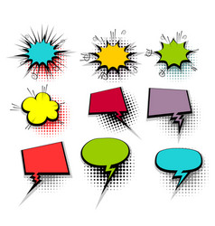 Funny set colored comic speech birst bubbles vector