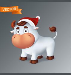 funny silver ox animal in red santas hat symbol vector image