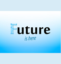 future - caption on blue background banner in vector image