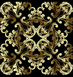 gold 3d baroque seamless pattern antique vector image