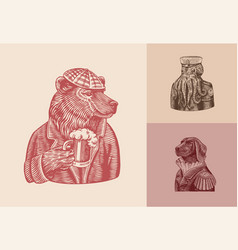 grizzly bear with a beer mug octopus sailor dog vector image