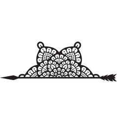 Half mandala and arrow symbol vector