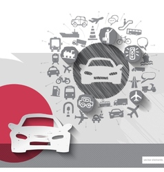 Hand drawn car icons with icons background vector