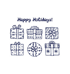 hand drawn winter set with gift boxes vector image
