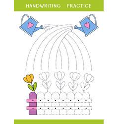 handwriting practice worksheet vector image