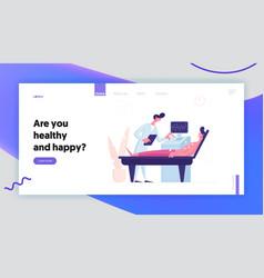 healthcare medicine website landing page doctor vector image