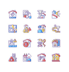 Home damage rgb color icons set vector
