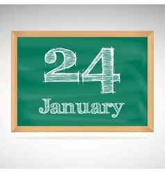 January 24 inscription in chalk on a blackboard vector image