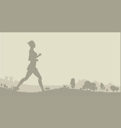 Jogger with wooded background vector