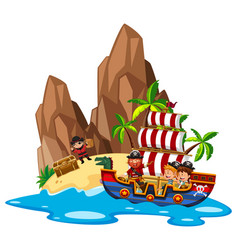 kids sailing on pirate ship vector image