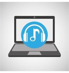 Laptop music technology note headphones vector