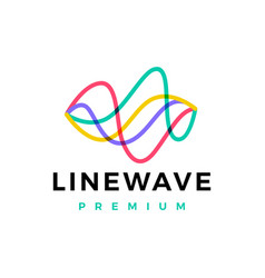 Line wave flow abstract overlap color logo icon vector