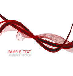 Line wave red and black color abstract vector