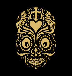 logo dia de muertos tattoo skull gold ornate vector image
