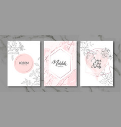 Luxury cards collection with marble texture and vector