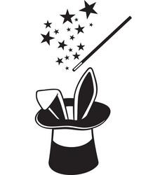 Magic hat wand and rabbit vector