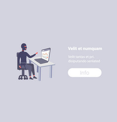 Man in black mask sitting workplace using laptop vector