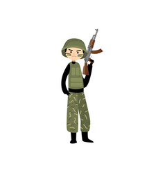 Military man in uniform hard hat and combat paint vector
