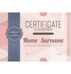 Modern pink blank certified template l vector