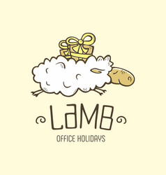 Modern professional sign logo lamb holiday vector