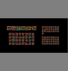 mosaic ukrainian english and russian alphabet vector image