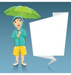 Of A Little Boy Holding Umbrel vector image