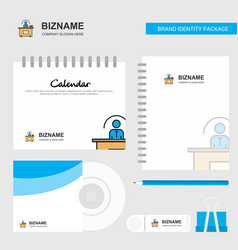 office desk logo calendar template cd cover diary vector image