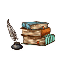 old books and ink feather quill pen vector image