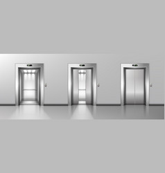open and closed metal elevator doors in hallway vector image