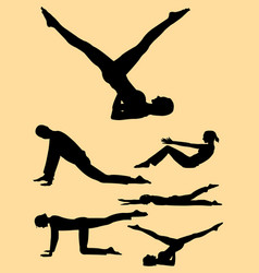 Pilates training sports women silhouette vector