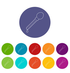 pipette icons set color vector image