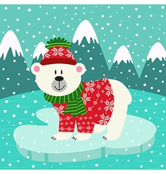 Polar bear in knitted sweater and cap on ice floe vector