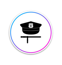 police cap and rubber baton icon isolated vector image