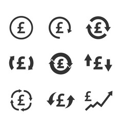 pound exchange icon set currency convert finance vector image