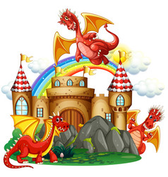 Red dragon at the castle vector