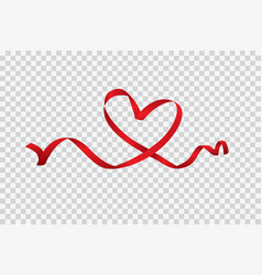 red heart ribbon isolated on transparent vector image