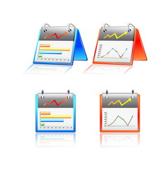 Reports chart graphs icon set vector