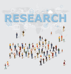 Research icons and arrow people symbol vector