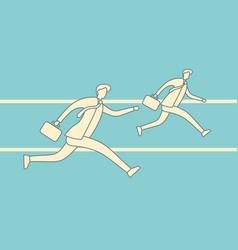 running businessmen outline vector image