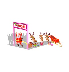 Santa Claus finishing race with reindeers vector image