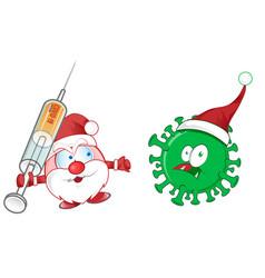 Santa claus mascot fight against corona virus vector
